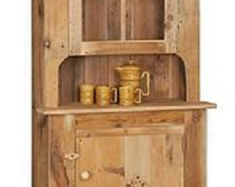 """Reclaimed Barn Wood Hutch/China Cabinet - Small -  Pine Wood - Upper Glass - Unfinished- 34""""Wx14""""Dx76""""H"""