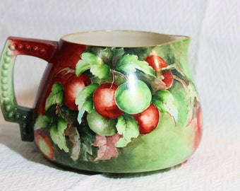 Lenox Belleek Hand Painted Red and Green Cider or Lemonade Pitcher