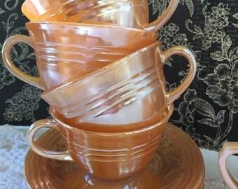 Vintage Fire King Peach Luster Ware Teacups and Sugar bowl set, Anchor Hocking Fireking Tea Set, Iridescent Tea Set, Lusterware Tea Set