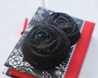 Black Rose Glitter Bath Bomb - Lavender, Chamomile, & Sweet Orange Essential Oils