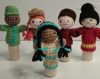 Fingerpuppets, Multi-Cultural, Crochet Fingerpuppets