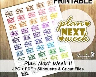 50% OFF SALE, Plan Next Week Printable Planner Stickers, Erin Condren Planner Stickers, EC Printable Stickers, Plan Next Week - Cut Files