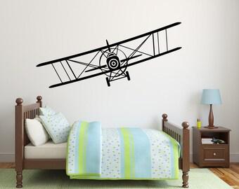Plane Wall Decal Airplane Vinyl Sticker Decals Biplane Decor Plane Air Airplane Decal Boy Room Decor Bedroom Men Gift Nursery Dorm Decor x28