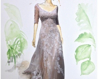 Watercolour Bridal Illustration Titled Run Away Bride with Free Shipping Standard Delivery, Print