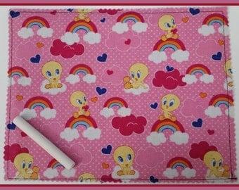 Roll Up Chalk Mat - Tweety Bird Pink / gift for her / holiday / stoking stuffer / basket filler / birthday / party favor / art