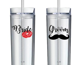 One Single (1) Vinyl Skinny 16 oz Tumbler, Newlyweds, Bride, Grooms, Wedding Tumblers, Wedding Gifts, skinny tumblers, Engagement