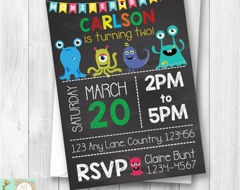 Monster theme birthday party, Monsters Invitation, Boys Birthday, Boy Invitations Monster Bash Party, Printable Card, Chalkboard Invite