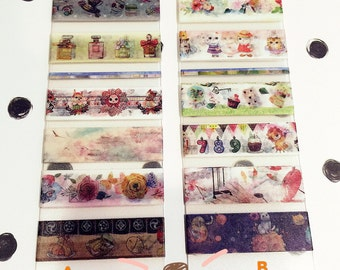 """Daisyland Washi Tapes Samples on PVC card - 6 styles x 50cm each-118"""" Long Total - Furry Cat/ Floral/ Alice in Wonderland/ Birthday/ Antique"""
