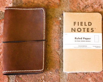 "Refillable Simple Leather Field Notes Journal Cover (5.5"" x 3.5"")"