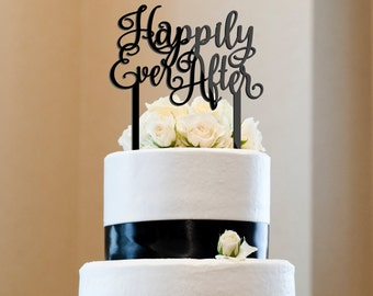 Happily Ever After Wedding Cake Topper anniversary Acrylic wreath CT0009