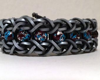 Silver/Black/Teal Splash bead & band bracelet