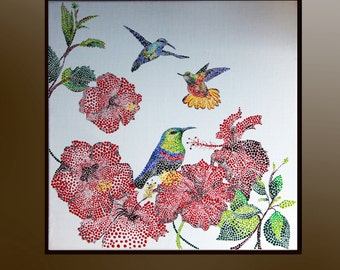 Flying hummingbirds and tropical flowers, Original Acrylic painting, Hummingbird art, Original painting on canvas , Birds, Boba