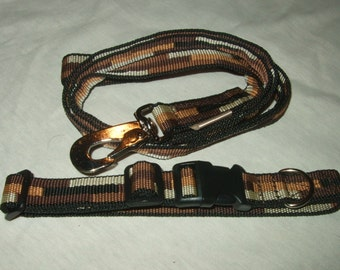 Dog Collar and Lead, 20mm wide Brown/Tan/Beige Webbing