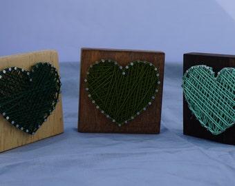 Green Hearts String Art