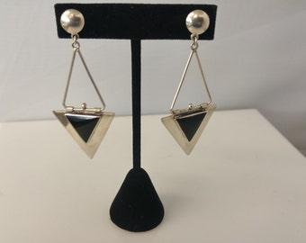 Sterling onyx earring