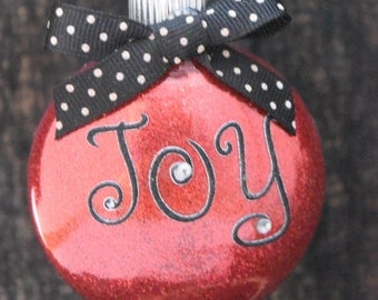 Red Glittered Joy Glass Christmas Ornament FREE USA SHIPPING