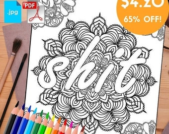 Sweary Coloring Book Download : Items similar to Swear coloring page with poem with flower ornaments. Sweary word page. Swearing ...