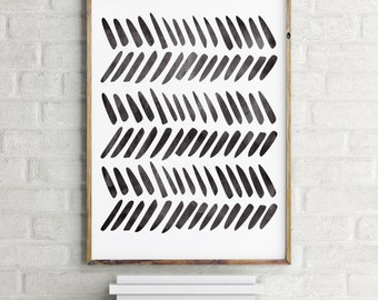Scandinavian Art Print / Tribal Art Print / Instant  Download Print / Printable Art / Black and White Art Print
