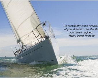 sailboat sailing inspirational poster 24X36 MOTIVATION & self confidence