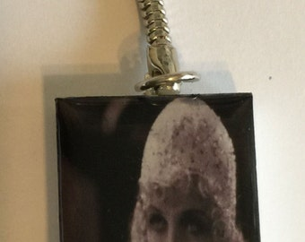 Vintage 1920's Actress Phyllis Haver Altered Domino Key-Chain