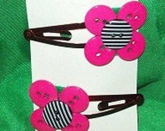 Pink Flower Button Hair Clips