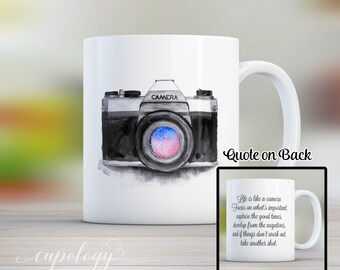 Life is like a camera, Camera Mug, Inspirational Quote, Coffee Mug, Mugs, Camera, Graduation Gift, Gift for Him, Gift for Her