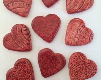 10 Handcrafted Ceramic Red Sparkly Heart Tiles Can Be Used In Mosaics And Other Mixed Media Art