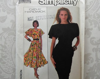 Vintage Simplicity Pattern Cathy Hardwick Dress Pattern 8055 Size Large 38 bust UNCUT