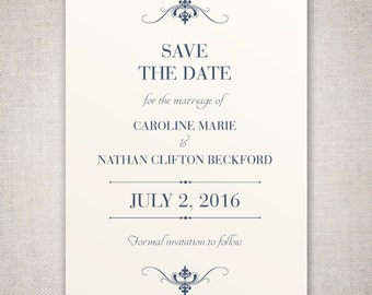 The Caroline, Save The Date - Elegant and Traditional Save The Date with beautiful Typography - DIY - Print at home!