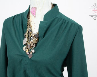 Vintage Bottle Green Shirt Dress Size M