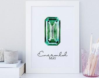 Emerald gemstone wall art, gemstone wall art print, printable May, May birthstone wall art, gemstone home wall decor, minimalist art print