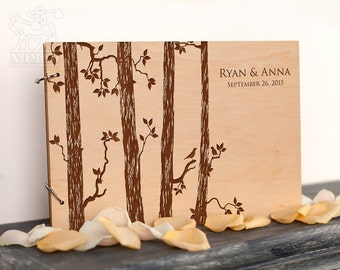Wooden Wedding Guest Book, Custom Rustic Guest Book, Wedding Guestbook Tree, Laser Engraved, Bridal Shower, Anniversary, wedding guestbook
