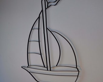 Sailboat Boat Sailing Black Metal Wall Art Decor