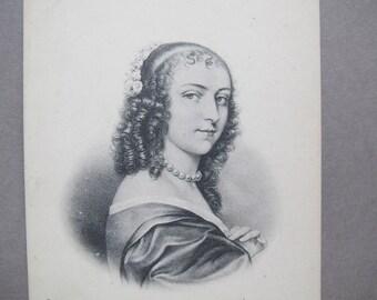 Ninon de Lenclos French etching postcard / Anne Dite / Antique French postcard / Historical French Postcard / ND Phot