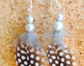 Guinea feather and bead earrings