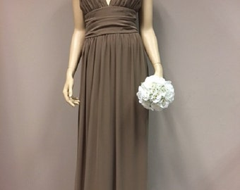Brown Chiffon A line Dress Wedding Party Bridesmaid dress Mother of the Bride Gold Brooch evening Wear Elegant Prom Gown