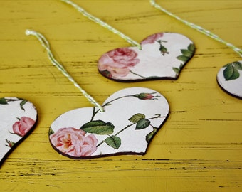 Set of 4 wooden decopaged hanging hearts