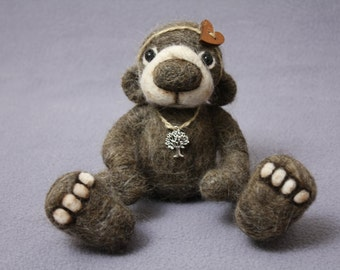Needle felted cute teddy bear Moe, needle felted animals, felted teddy bear, needle felted cute animals,cute felted teddy bear,  felted