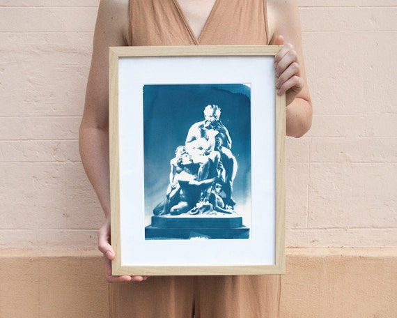 Ugolino and His Sons Marble Sculpture, Cyanotype Print on Watercolor Paper, A4 size