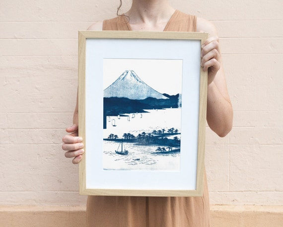 Mt. Fuji, Japanese Landscape, Cyanotype Print on Watercolor Paper, A4 size