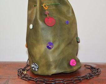 Bag-backpack-small leather jewel Hunter Green Jewelbag # 039
