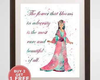 Mulan Quote Print, Disney watercolor, home arts, decor, cartoon kids children Illustration, Gift,Nursery Poster YC267