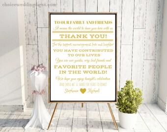Wedding Thank You Sign In Metallic Gold - Personalized (4x6, 5x7, 8x10, 11x14, 16x20, 18x24, 24x36, A5, A4, A3, A2, A1, A0, Custom)