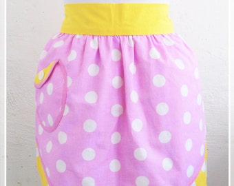Yellow and pink Retro half apron Womens aprons Vintage apron Wedding gift Bridal shower gift Cute apron