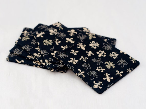 Black Gold Fleur De Lis Fabric Coaster Coasters Set Of 6