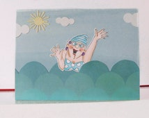 Summer card - Funny card - Dive - Blank double greeting card - Hand colored - Main card color is blue
