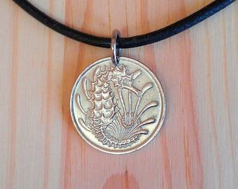 Seahorse coin necklace pendant charm, Singapore 10 cents coin pendant charm necklace, Animal coin, Sea horse pendant necklace