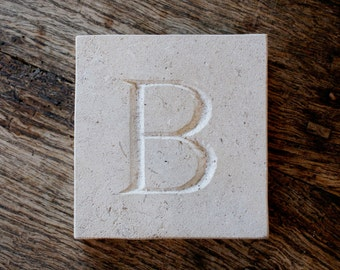 Letter 'B' Hand Carved In Beautiful White Portland Stone Standing Stone Fossil Tablet Everlasting Wedding Christening Gift Personalised Art