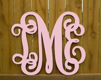 Painted Wooden Monogram, Wood Monogram, Vine Script, Initials, Room, Wall, Nursery and Wedding Decoration, Door Hanger, Wall Hanging #2304