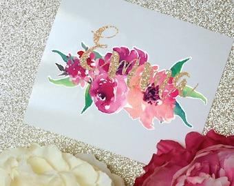 Peony Watercolor Monogram Decal, Watercolor Flowers, Flower Sticker, Tumbler Decal, Watercolor Peonies, Printed Decal
